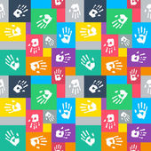 Seamless background with squares and hands. UI color theme.  — Stock Vector