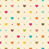 Checkered color seamless textured polka dots pattern with hearts — Stock Vector