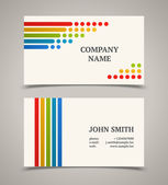 Business card template with color lines and dots. — Stock Vector