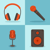 Vector music concepts in flat style. Set of icons - microphones, — Vector de stock