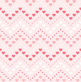 Retro seamless geometric pattern. Color hearts and dots on pink — Stock Vector