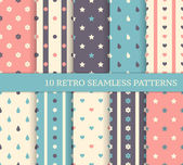 10 retro different seamless patterns. Polka dots and stripes. — Stock Vector