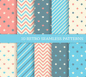 10 retro different seamless patterns. Zigzag and stripes. — Stock Vector
