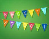 """Frasen """"tillbaka till skolan!"""" på bunting flaggor. — Stockvektor"""