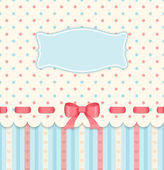 Vintage card with bow on polka dots background. — Stock Vector