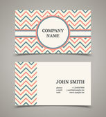 Business card template with background pattern. Modern retro sty — Stock Vector