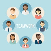International teamwork. Colorful business people face. Trendy fl — Vecteur