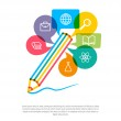 Abstract pencil with color speech bubbles and education icons. C — Stock Vector #50881841