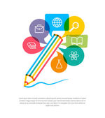 Abstract pencil with color speech bubbles and education icons. C — Stock Vector