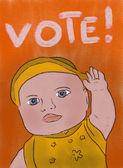 "Boy says ""Vote!"" — Stock Photo"