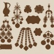Stock Vector: Old jewelery and treasures silhouettes