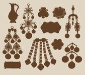 Old jewelery and treasures silhouettes — Stock Vector