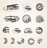 Set of vintage transport icons — Stock Vector