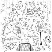 Funny wedding elements set — Stock Vector