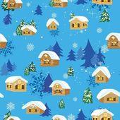 Patrón de navidad con casas — Vector de stock