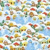 Christmas pattern with houses — Stock Vector