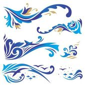 Arabic ornaments with waves — Stock Vector