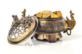 Feng shui object - golden chinese chest full of coins — Stock Photo
