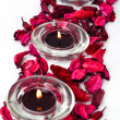 Spa aromatherapy objects-scented petals and candles — Stock Photo