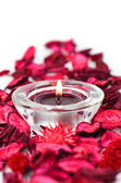 Spa aromatherapy object-scented petals and candle — Stock Photo