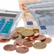 Stock Photo: Euro money and calculator