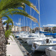 Sailing Boats in the marina of Gruissan - Stock Photo