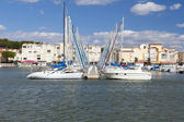 Marina of Gruissan with landing stage — Stock Photo