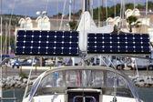 Solar module on a sailing boat — Stock Photo