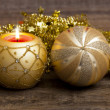 Christmas mood with candle — Stok fotoğraf