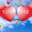 You and Me with red Hearts — Stock Photo