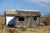 Old dilapidated cabins workers — Stockfoto