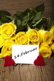 "Flower and a card ""14. Februar"" — Stock Photo"