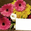 Writable greeting card with colorful flowers — Stock Photo #19426717
