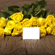 Writable greeting card with yellow roses — Stock Photo #19426833