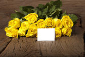 Writable greeting card with yellow roses — Stock Photo