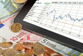 Stock index on Tablet PC — Stock Photo