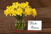 Easter greeting with daffodils — Stock Photo
