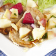Steak with apple salad — Stock Photo