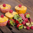 Stock Photo: Four Fruit muffins