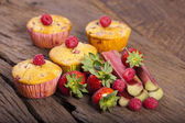 Four Fruit muffins — Stock Photo