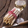 Fresh Asparagus and and a glass Wine — Stock Photo #25042171