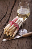 Fresh Asparagus and and a glass Wine — Stock Photo
