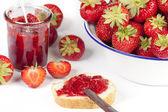 Strawberries, jam and bread — Stock Photo