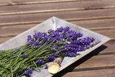 Lavender in a wooden bowl — Stock Photo