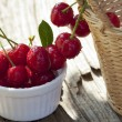 Stock Photo: Freshly picked cherries from garden