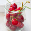 Ripe Cherries in a preserving jar — Stock Photo