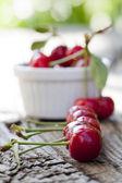 在一行中一些新鲜地挑选的樱桃 — 图库照片