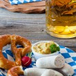 Bavarian veal sausage with mustard — Stock Photo #32505775