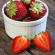 Sweet strawberries in a bowl — Stock Photo
