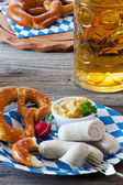 Bavarian veal sausage with mustard — Stock Photo